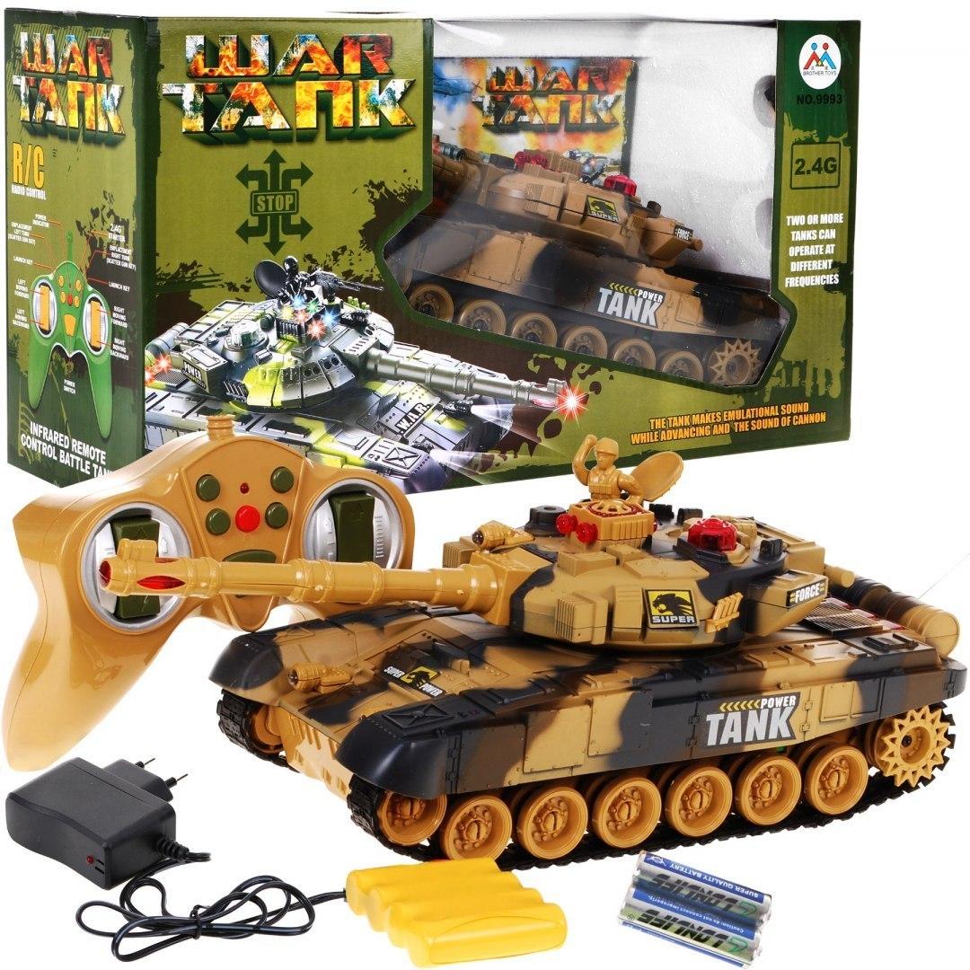 Vojenský tank R/C- jezdí a střílí - tanková bitva