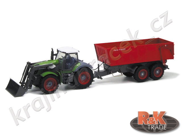Velký traktor s červenou vlečkou rc na ovládání vel. 1:28