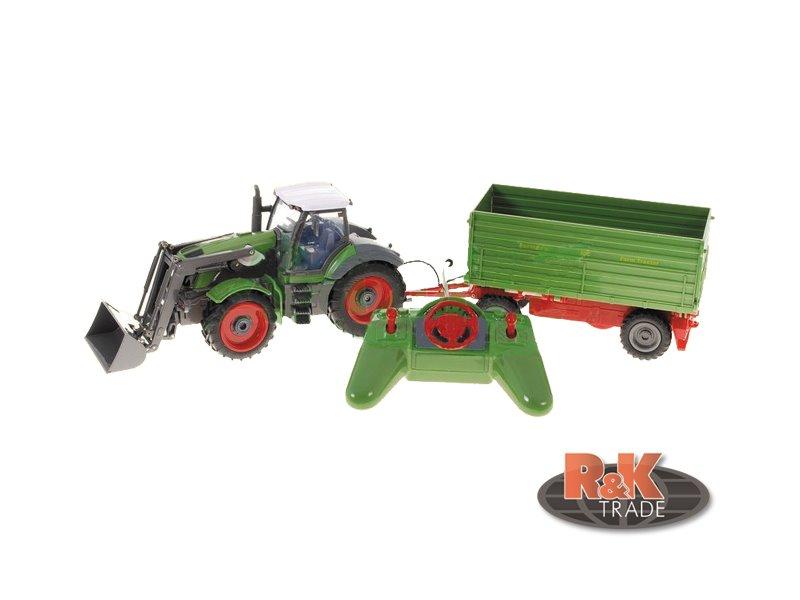Velký traktor s vlečkou rc na ovládání vel. 1:18