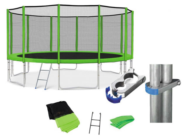 Zelená trampolína + síť + schůdky průměr 305 cm