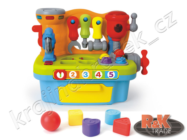 Huile Toys multifunkční malý kutil nářadí ponk na baterie