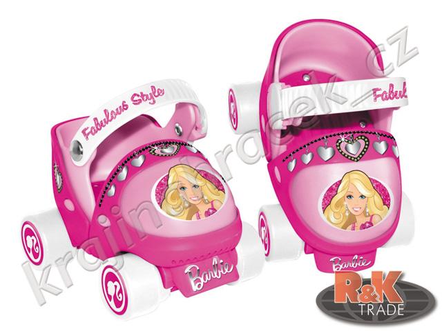 Růžové holčičí kolečkové brusle barbie pro holky 4 kola