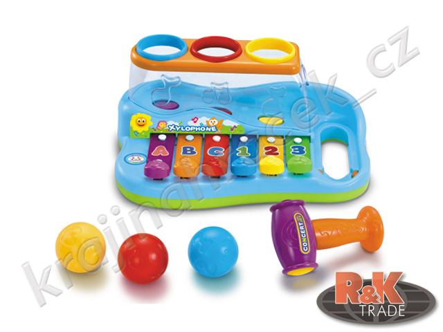 Huile Toys dětský barevný xylofon s kladívkem zatloukačka
