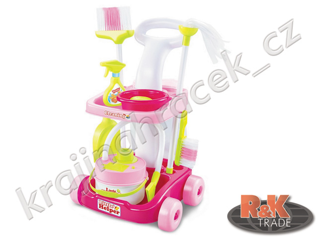 Sada pro úklid dětský vysavač + doplňky s vozíkem